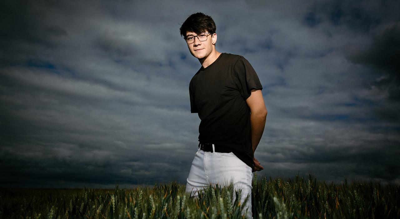 Model Ollie in wheat field